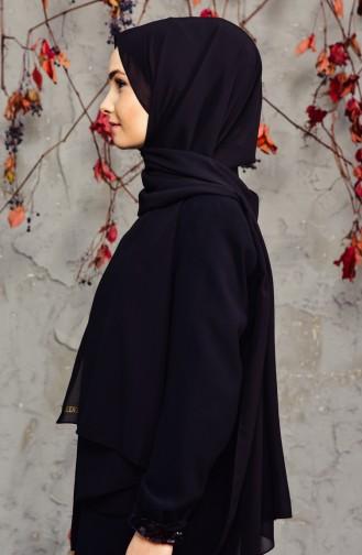 Long Chiffon Shawl 50025-01 Black 50025-01
