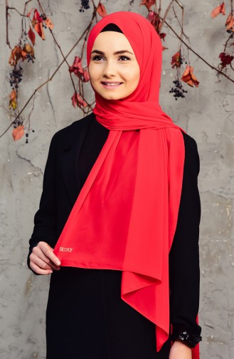 Long Chiffon Shawl 50025-03 Red 50025-03