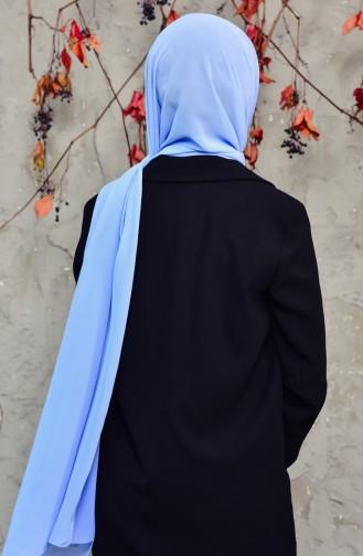 Long Châle Mousseline 50025-103 Bleu Clair 50025-103