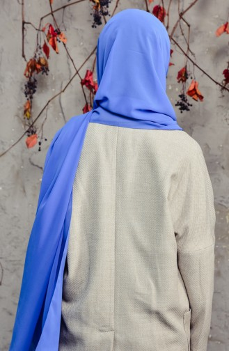 شال شيفون طويل 50025-130 لون أزرق داكن 50025-130