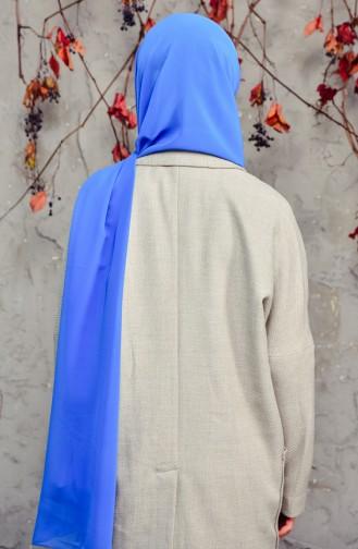 Uzun Şifon Şal 50025-130A Mavi