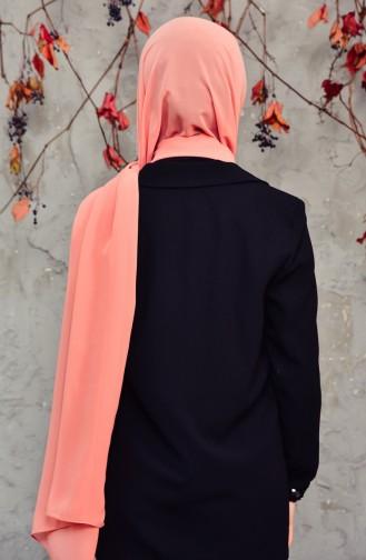 شال شيفون طويل 50025-133 لون وردي مائل للبرتقالي داكن 50025-133