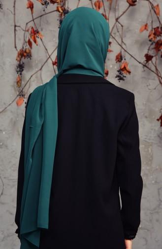 شال شيفون طويل 50025-44 لون أخضر زُمردي 50025-44