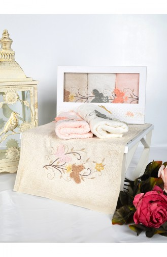 Bamboo Butterfly Embroidered 30X50 Hand Towel 3446-01 Beige 3446-01