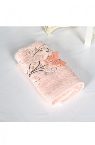 Bamboo Butterfly Embroidered 30X50 Hand Towel 3446-03 Pink 3446-03