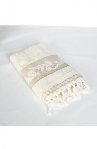 Combed Cotton Jacquard 50X90 Face Towel 3448-03 Cream 3448-03