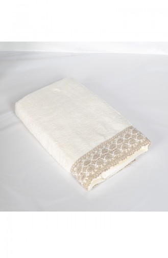Combed Cotton Laced 50X90 Face Towel 3449-01 Cream 3449-01