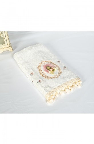 Bamboo Laced 50X90 Face Towel 3454-01 White 3454-01