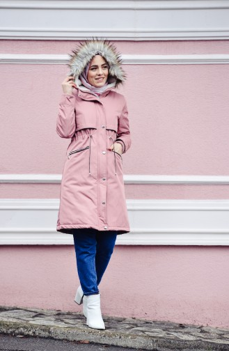 Furry Quilted Coat 6003-01 Rose Dry 6003-01