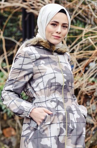 Manteau a Motifs Camouflage 1002-01 Tabac 1002-01