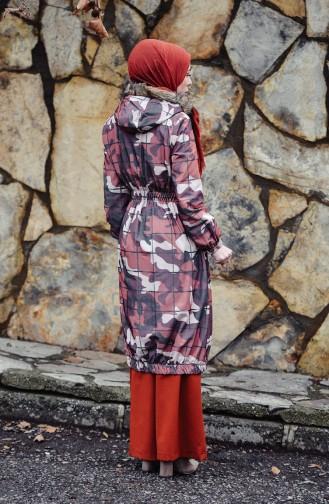 Manteau a Motifs Camouflage 1002-02 Brique 1002-02