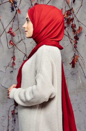 Practical Three Banded Crepe Shawl 9002-08 Dark Claret Red 9002-08