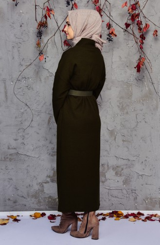 Robe Tricot Détail Fermeture 4921-02 Khaki 4921-02