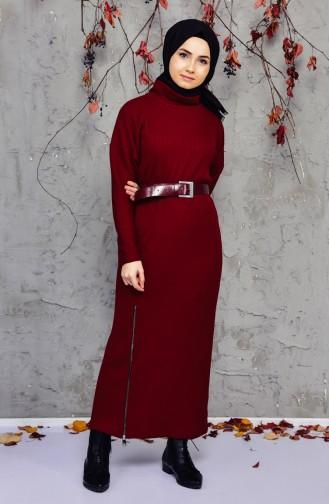 Knitwear Zipper Detailed Dress 4921-04 Damson 4921-04