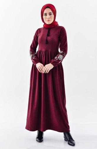 Claret Red Hijab Dress 4025A-06