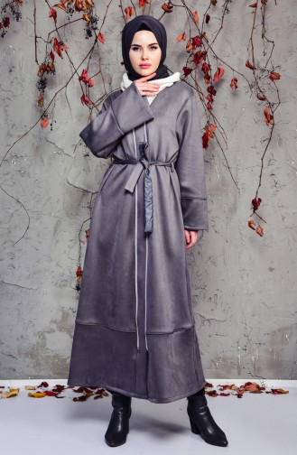 Belted Suede Trench Coat 7814-05 Grey 7814-05