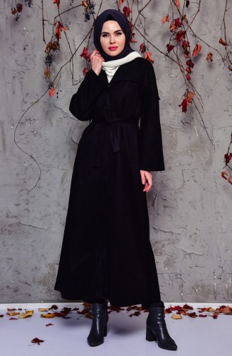Pearly Suede Trench Coat 7815-01 Black 7815-01