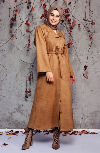 Pearly Suede Trench Coat 7815-04 Milky Coffee 7815-04