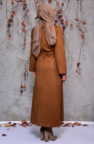 Pearly Suede Trench Coat 7815-05 Brown 7815-05