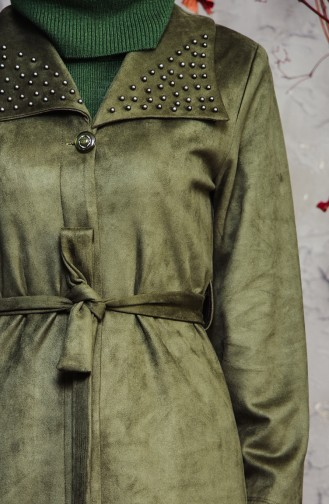 Pearly Suede Trench Coat 7815-06 Khaki 7815-06
