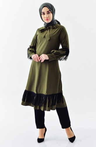 Buglem Tie Collar Tasseled Tunic 1180-02 Green 1180-02
