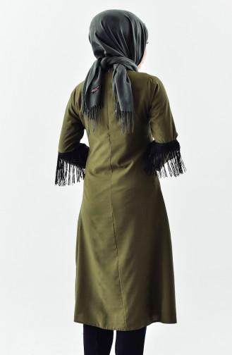 بوجليم تونيك بتصميم ياقة برباط مُزين بشراشيب 1180-02 لون أخضر 1180-02
