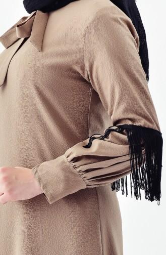 Buglem Tie Collar Tasseled Tunic 1180-05 Mink 1180-05