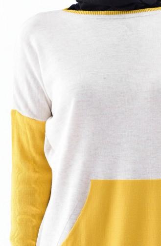 بلوز تريكو بتصميم طويل 4698-01 لون بيج 4698-01