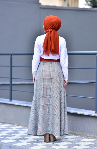 Plaid Patterned Flared Skirt 8104-04 Tile Red 8104-04