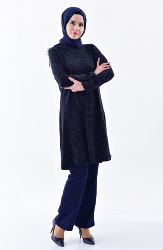 MIHRISAH Pocketed Trousers 2330-02 Navy Blue 2330-02