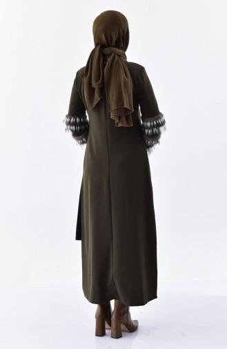 Fur Detailed Double Suit 1927299-903 Khaki Green 1927299-903