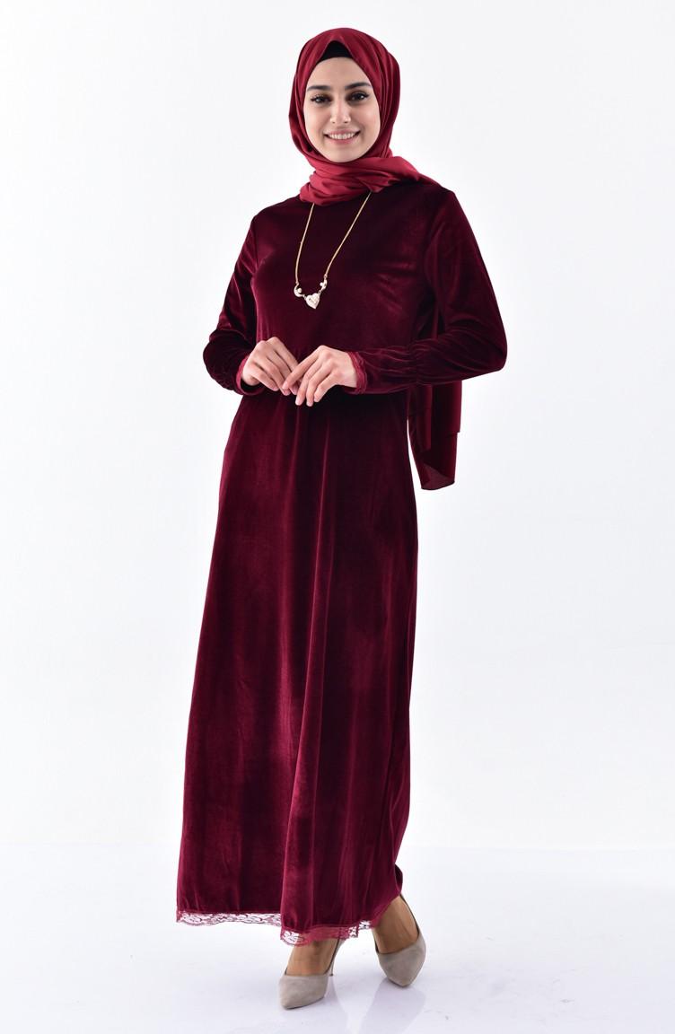 62f79d32d76 Velvet Dress 0204-01 Claret Red 0204-01