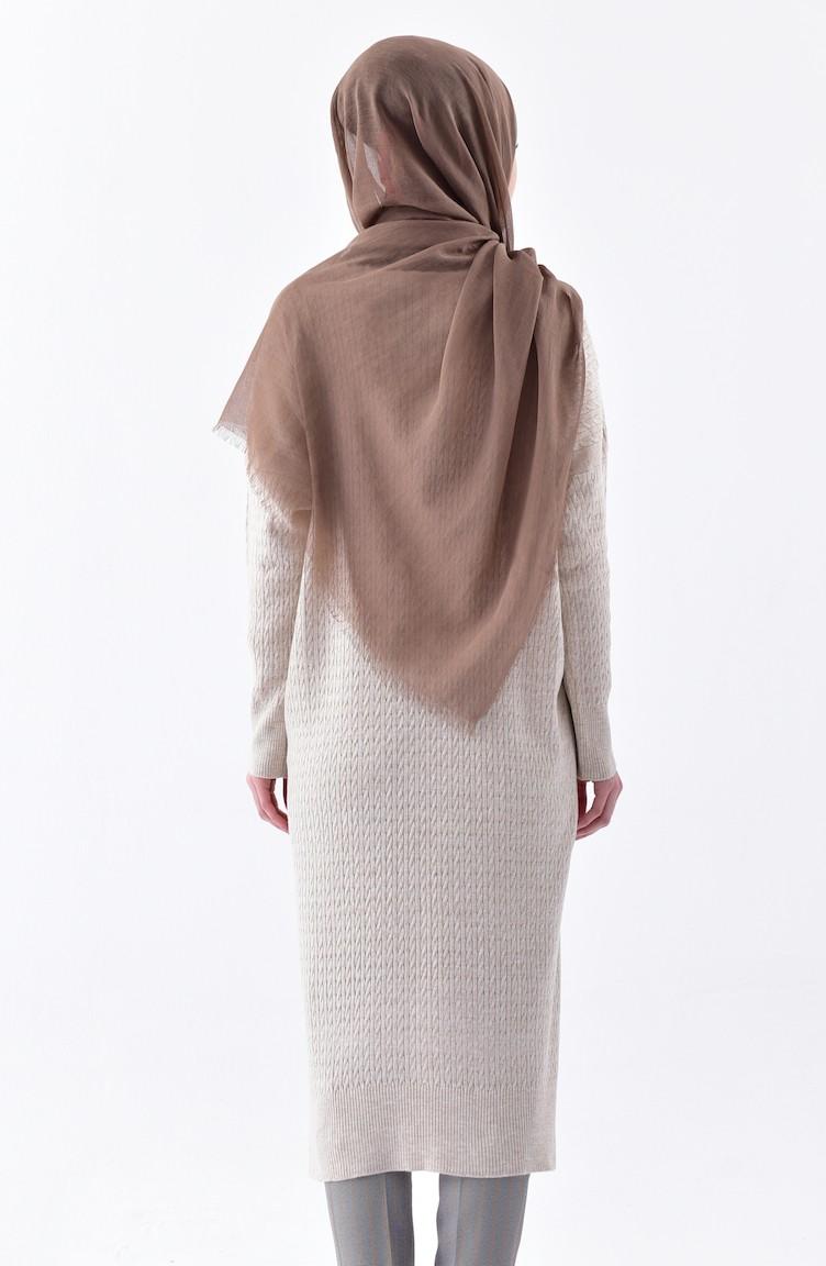 5825b7fd53e Plus Size Knitwear Patterned Tunic 3287-01 Beige 3287-01