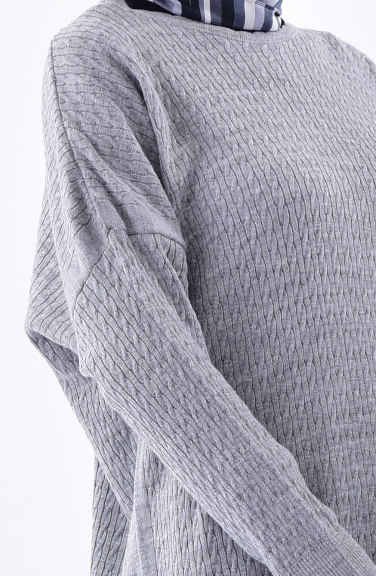 f0b0200efcc Plus Size Knitwear Patterned Tunic 3287-04 Gray 3287-04