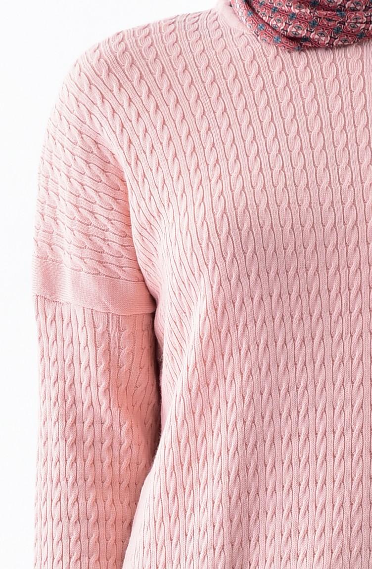 151a0867a20 Plus Size Knitwear Patterned Tunic 3287-06 Powder 3287-06