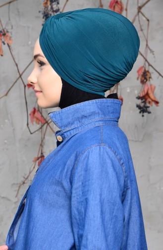 Fertige Bonnet mit Knoten 0027-10 Smaragdgrün 0027-10