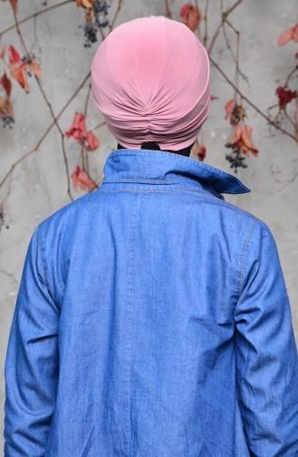 Fertige Bonnet mit Knoten 0027-12 Hellrosa 0027-12