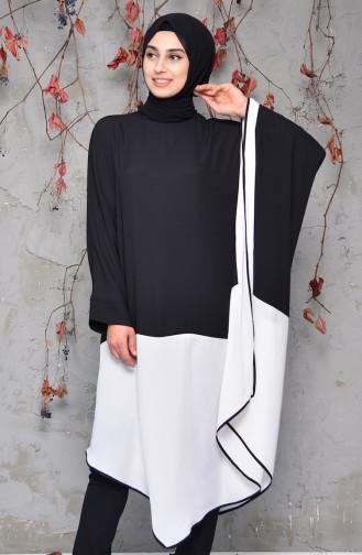 Chiffon Abaya 4903-01 Black White 4903-01