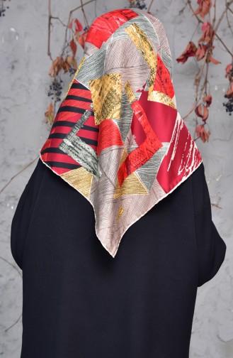 شال تول بتصميم مُطبع 2143-06 لون بني مائل للرمادي واحمر 2143-06