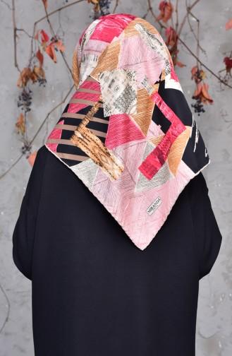 شال تول بتصميم مُطبع 2143-03 لون وردي 2143-03