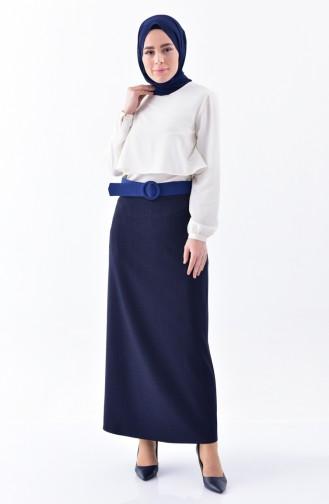 Striped Pencil Skirt 2047-01 Navy Blue 2047-01