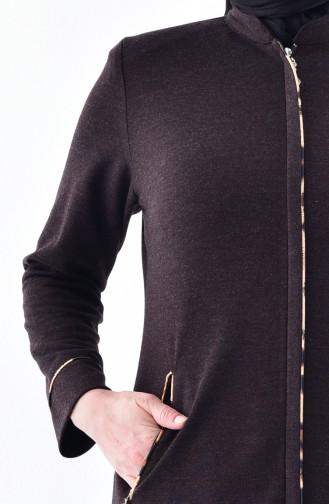 Große Größe Winter Abaya mit Reißverschluss 15916-03 Braun 15916-03