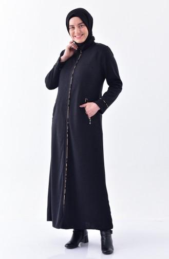 Plus Size Zippered Winter Abaya15916-04 Smoked 15916-04