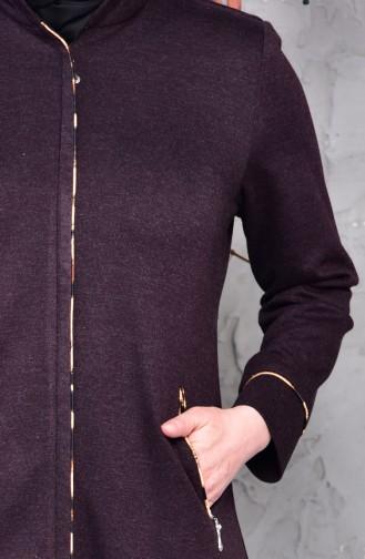 Plus Size Zippered Winter Abaya 15916-06 Purple 15916-06