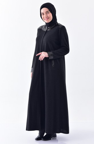 Plus Size Leather Garnili Abaya 5917-05 Smoked 5917-05
