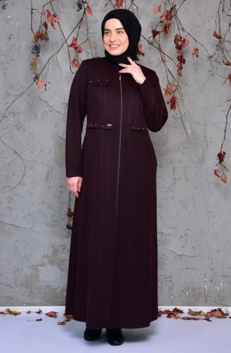 معطف طويل بتفاصيل جيوب وبمقاسات كبيرة 1070-01 لون خمري 1070-01