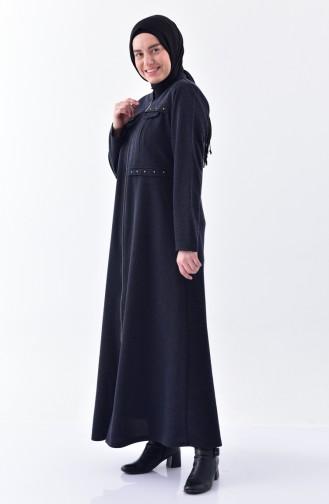 Large Size Pocket Detailed Overcoat 1070-04 Navy Blue 1070-04