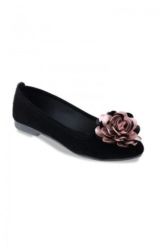 Women Flat Shoes Ballerina 0107-04 Black Powder Suede 0107-04