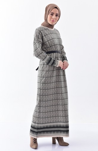 Triko Desenli Elbise 1029-03 Bej 1029-03