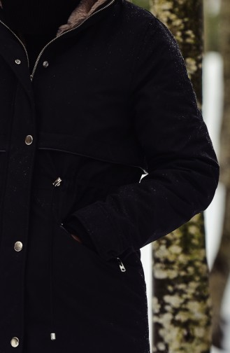 Furry Quilted Coats 6003-02 Black 6003-02